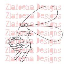 Digital stamp Bunny Birthday girl cake Printable Line por Zlatoena, $2.99