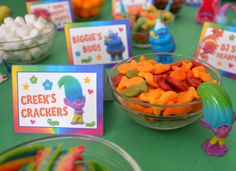If you are having a Trolls party, what about setting up a Trolls themed snack