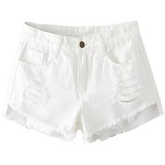 White Distressing Rips Detail Raw Edge Asymmetric Denim Shorts ($27) ❤ liked on Polyvore featuring shorts, white cotton shorts, denim short shorts, zipper pocket shorts, ripped shorts and distressed denim shorts