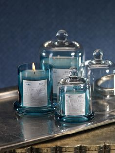 Pacific Blue Apothecary Guild Scented Candle Jars with Glass Domes by Zodax Apothecary Candles, Soy Candles, Scented Candles, Candle Jars, Candle Holders, Candle Packaging, Candle Labels, Glass Domes, Glass Jars