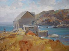 """Monhegan Dock, Fall 1968,"" Jay Hall Connaway, oil on canvasboard, 18 x 24"", Blue Heron Fine Art."