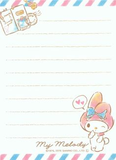 small cute memo pad with My Melody bunny rabbit