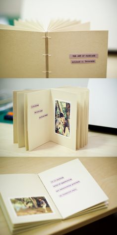 Wedding gift: handmade pre-wedding photo book with a line of poem on each page :)