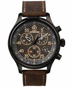 Đồng hồ Timex nam Expedition Field Chronograph T499059J dây da nâu