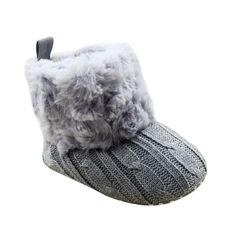 Amazon.com: Weixinbuy Baby Girls Knit Soft Fur Winter Warm Snow Boots Crib Shoes: Shoes