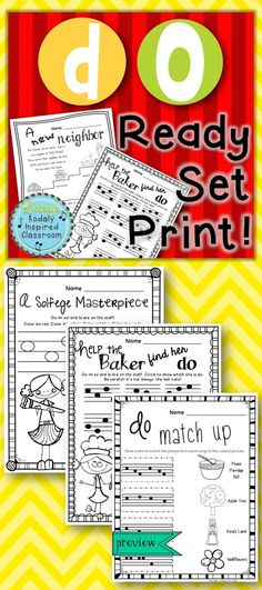 do Ready Set Print! Printable worksheet set to practice the melodic concept, do. #solfege #musicedchat #kodaly #Orff #melody #elementarymusic
