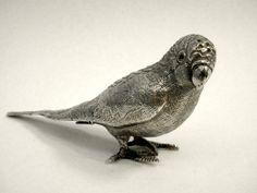 ANTIQUE SOLID SILVER BIRD / BUDGERIGAR / BUDGIE PEPPER SHAKER LONDON 1904