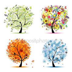 Dört mevsim - Bahar, yaz, Sonbahar, kış. Sanat ağaç güzel için senin — Stok İllüstrasyon #4186471