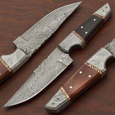 CUSTOM HANDMADE DAMASCUS STEEL, STRAIGHT BACK, HUNTING KNIFE BY BRETT MARTIN #BrettMartin