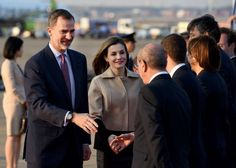 Spanish King Felipe VI and Queen Letizia are welcomed by Japanese and Spanish officials upon their arrival at Haneda Airport in Tokyo on April 4 2017...
