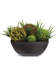 Orbs/Grass In Square Silk Arrangement.  Free Shipping.