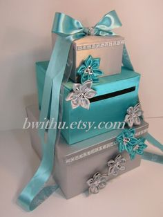 Items similar to Wedding Card Box Silver and Turquoise Gift Card Box Money Box Holder--Customize your color on Etsy Money Box Wedding, Wedding Gift Boxes, Wedding Cards, Diy Wedding, Wedding Ideas, Wedding Planning, Sweet 16, Money Jars, Gift Card Boxes
