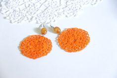 Bead Crochet earrings orange hoop earrings by TheVictorianLace, €12.00