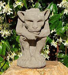 USA-Made Cast Stone Thinking Gargoyle Candle Holder