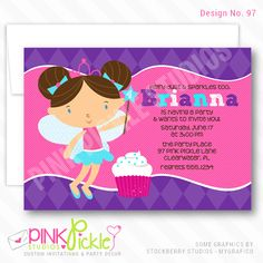 Cupcake Fairy Invitation-personalized invitation, photo card, photo invitation, digital, party invitation, birthday, shower, announcement, printable, print, diy, princess Fairy Invitations, Personalised Party Invitations, Personalized Thank You Cards, Kids Birthday Party Invitations, Photo Invitations, Baby Shower Invitations, Birthday Cards, Birthday Parties, Photo Cards