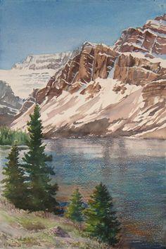 Watercolor painting, Debbie Homewood Bow Lake, Alberta