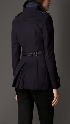 Leather Detail Wool Cashmere Pea Coat | Burberry