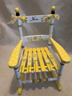 Teal Accent Chairs In Living Room Painted Wooden Chairs, Painted Rocking Chairs, Old Wooden Chairs, Whimsical Painted Furniture, Childrens Rocking Chairs, Old Chairs, Hand Painted Furniture, Desk Chairs, High Chairs