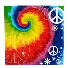 All the cool kids will want to be invited to your party when you put out these Tye Dye Fun Beverage Napkins. Each pack includes 16 beverage napkins of paper. Party Supply Store, Party Stores, Tie Dye Party, Hippie Party, Hippie Peace, Happy Hippie, Retro Party, 1960s Party, Tie And Dye