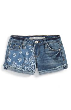 Tractr+Bandana+Print+Roll+Cuff+Shorts+(Big+Girls)+available+at+#Nordstrom #girls #fashion #kids #children's #fashion