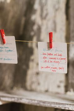 Advice cards from guests to the bride and groom are a clever alternative to a guest book. Photo by Sarah Der Photography.