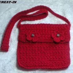 Sac,pochette au crochet rouge