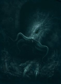 In his house at R'lyeh dead Cthulhu waits dreaming. Lovecraft, The Call of Cthulhu Lovecraft Cthulhu, Hp Lovecraft, Dark Fantasy, Fantasy Art, Creepy Monster, Monster Art, Vampire Masquerade, Lovecraftian Horror, Eldritch Horror