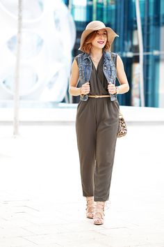 Blame-it-on-Mei-Fashion-Blogger-2016-Denim-Jacket-Olive-Green-Jumpsuit-Floppy-Hat-Chloe-Drew-Leopard-Crossbody-Lace-Up-Sandals-Soft-Waves-How-to-style-a-jumpsuit