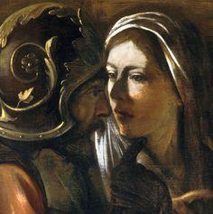 Caravaggio—The Denial of Saint Peter (detail), 1610.  Art of Darkness