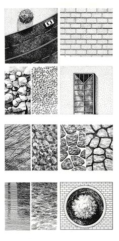 When drawing most things they usually have some sort of visual texture in person. This pin shows how to make most common textures. Again allowing your drawing to look more realistic and thought out.
