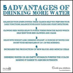 Drinking more purified water can help improve many health problems Health Heal, Health Diet, Health And Wellness, How To Stay Healthy, Healthy Life, Healthy Living, Healthy Food, Healthy Drinks, Healthy Habits