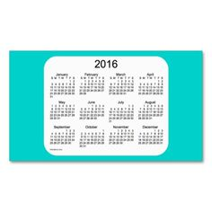 2016 Turquoise Blue Calendar by Janz Business Card