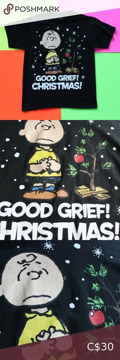 "2011 Charlie Brown Christmas T-Shirt 2011 Charlie Brown Christmas ""Good Grief Christmas"" T-Shirt SIZE: Medium Excellent condition!  CHEST 20"" BACK 26.5"" BRAND: Peanuts Worldwide FABRIC: Cotton Country of origin:  Mexico Colour: Black TheBandTee.Shop Peanuts Shirts Tees - Short Sleeve"