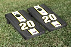 Our NASCAR MATT KENSETH #20 CORNHOLE GAME SET ONYX STAINED STRIPE VERSION. Get your custom set at victorytailgate.com