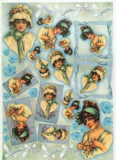 Rice Paper for Decoupage Decopatch Scrapbook Craft Sheet Vintage Ladies on Blue