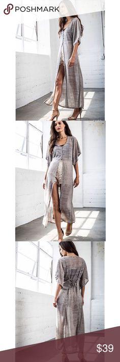 """""""Dazzle"""" Silver High Low Maxi Top / Duster PRICE IS FIRM UNLESS BUNDLED  Silver high low button front top. Also can be layered as a duster. Available in SILVER and LATTE. This listing is for the SILVER. Runs true to size. Brand new without tags. NO TRADES. Bare Anthology Tops"""