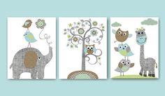 Childrens Art Kids Wall Art Nursery Art Baby Boy Room Baby Boy Nursery kids art Elephant Nursery Giraffe Nursery print set of 3 8x10 grey baby gift