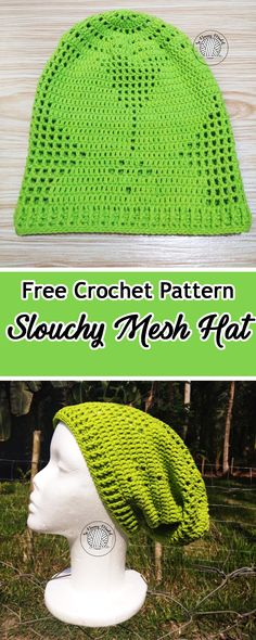 FREE CROCHET PATTERN:Slouchy Mesh Hat