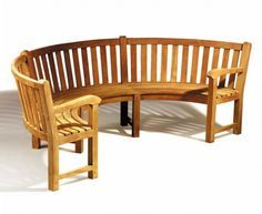Stylish curved wooden bench seat designs with arm rests for family garden : Curved Wooden Benches For Outdoor Patio and Garden. Teak Garden Bench, Outdoor Garden Bench, Wooden Garden Benches, Outdoor Landscaping, Outdoor Decor, Patio, Outdoor Living, Wooden Bench Seat, Curved Bench