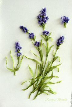 Купить Лаванда (в резерве) - комбинированный, лаванда, Вышивка лентами, лавандовый цвет, лавандовый
