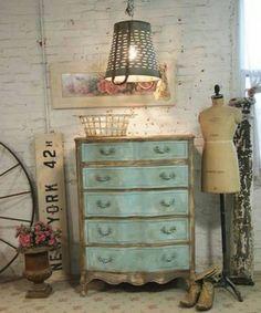 Sky blue aqua with gold trim chest of drawers