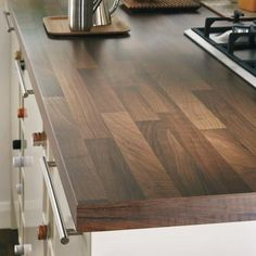 Walnut Block Effect worktop and upstand