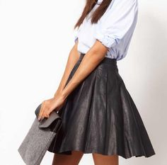 Pleated leather skirt and white shirt