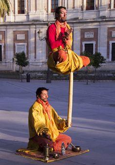 Meditation street performers