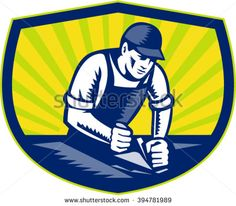 Illustration of a carpenter builder woodworker wearing hat and overalls with smooth plane working on a wood surface set inside shield crest done in retro woodcut style. - stock vector #carpenter #woodcut #illustration
