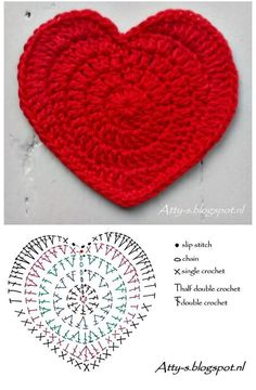 we have a collection here the 70 Free Crochet Heart Patterns that come in dashing yarn colors and are too beautiful to captivate your eyes! Just like other crochet motifs like a square or mandala motif Free Heart Crochet Pattern, Crochet Coaster Pattern, Crochet Motifs, Crochet Diagram, Crochet Stitches Patterns, Crochet Designs, Knitting Patterns, Crochet Crafts, Crochet Projects