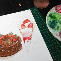 watercolor • food illustration 🧁 Watercolor Food, Food Illustrations