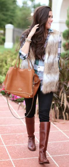 cute faux fur vest makes the outfit http://rstyle.me/n/p543ar9te
