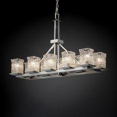 Justice Design Group Veneto Luce Montana Rectangular Venetian Glass Ten-Light 14'' Wide Ring Chandelier