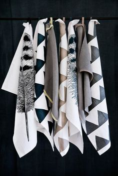 kitchen towels . bold geometric patterns . neutrals .  touch of metallic.